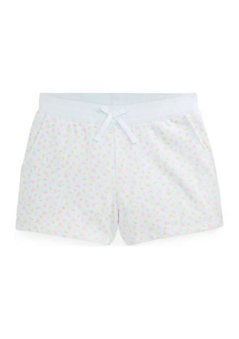 Girls 7-16 Floral Cotton-Blend-Fleece Shorts