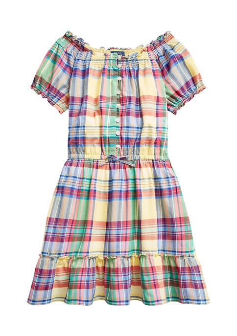 Girls 7-16 Tiered Cotton Madras Dress