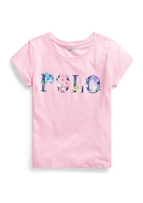 Ralph Lauren Childrenswear Girls 7-16 Floral-Logo Cotton Jersey