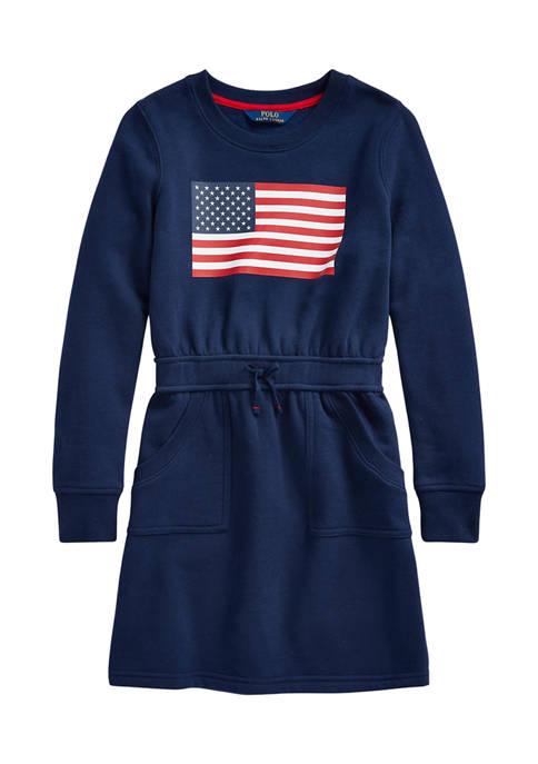 Girls 7-16 Flag Cotton Blend Fleece Dress