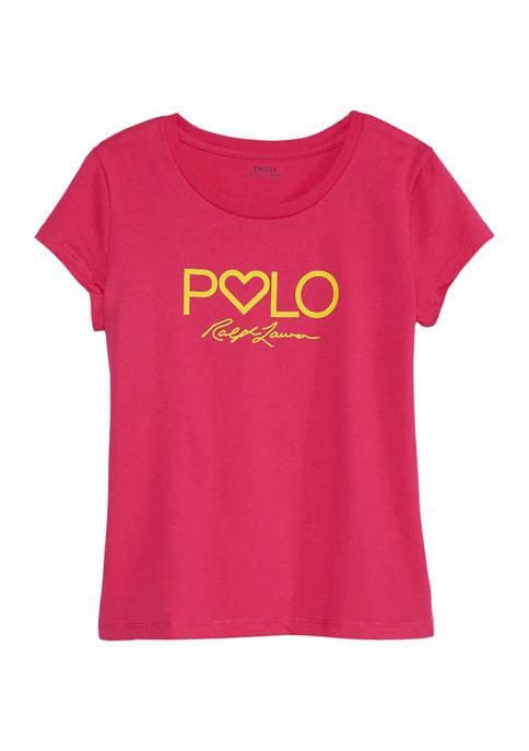 Ralph Lauren Childrenswear Girls 7-16 Logo Graphic Cotton
