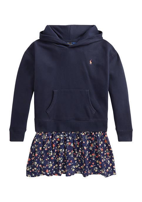 Girls 7-16 Floral Fleece Hoodie Dress