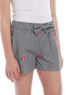 Gingham Check Woven Soft Shorts Girls 7-16