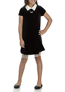 Girls 7-16 Black Textured Collar Shirt Dress