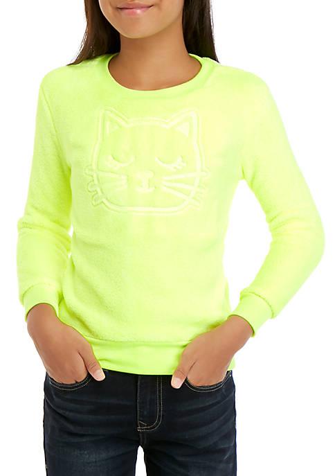 Beautees Girls 7-16 Neon Cat Woobie Top
