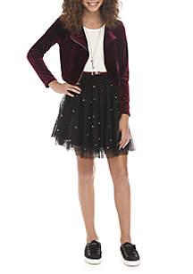 Girls 7-16 Wine Jacket Sequin Skirt Dress Set