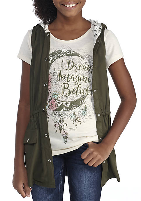 8a4d142e4 Beautees Graphic Tee and Twill Crochet Vest Girls 7-16 | belk