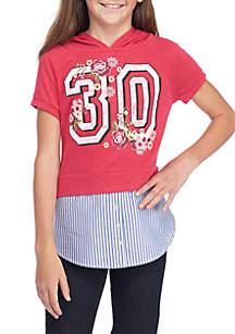 Girls 7-16 Varsity Layered Hoodie Shirt