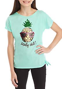 Beautees Girls 7-16 Short Sleeve Teal Pineapple Sequin Tee