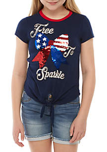 Beautees Girls 7-16 Short Sleeve Free to Sparkle Navy Sequin Tee