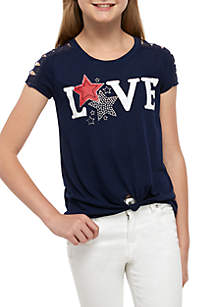 Beautees Girls 7-16 Short Sleeve Navy Love Stars Tee