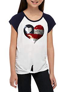 Beautees Girls 7-16 Short Sleeve Navy to White Americana Heart Tee