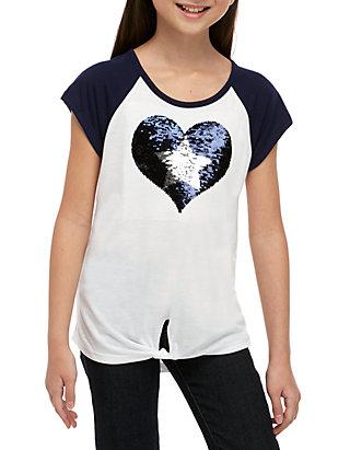 f88556ae5 Beautees Girls 7-16 Short Sleeve Navy to White Americana Heart Tee ...