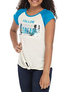 Beautees Girls 7-16 Short Sleeve Teal Knot Front Flip Sequin T Shirt