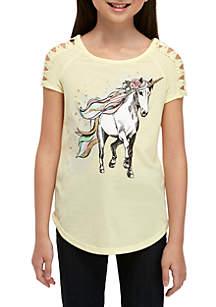 b3d66d783 ... Beautees Girls 7-16 Short Lace Sleeve Yellow Glitter Horse Tee