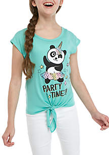 Beautees Girls 7-16 Mint Short Sleeve X-Back Tie Front Party Panda Tee