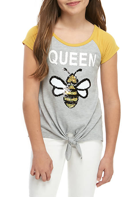 Beautees Girls 7-16 Short Sleeve Queen Bee Tie