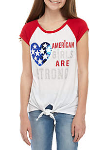 Beautees Girls 7-16 Red White American Girls Tie Front Sequin Tee