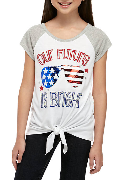 Beautees Girls 7-16 Short Sleeve White Future Is