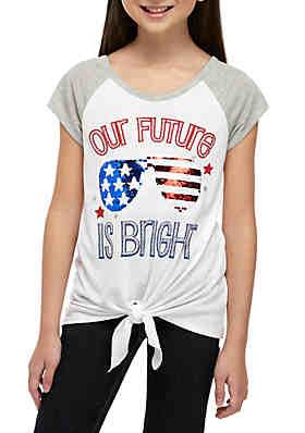 fc397cba6 Beautees Girls 7-16 Short Sleeve White Future Is Bright Tee ...