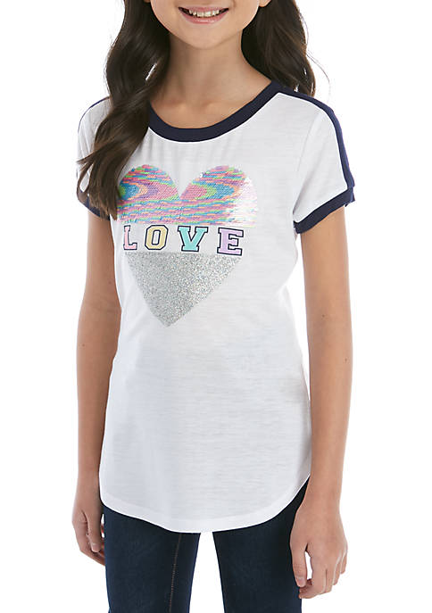 Girls 7-16 Short Sleeve Ringer Love Script Sequin Tee