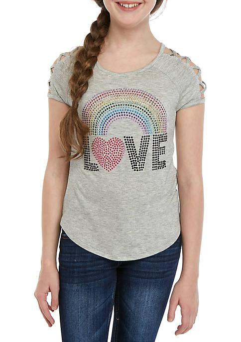 Beautees Girls 7-16 Heather Gray Lattice Sleeve Love