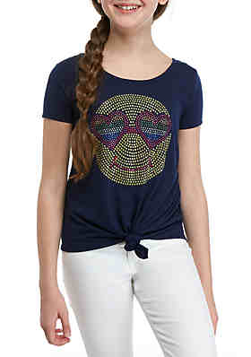 2a836ab37b30b Beautees Girls 7-16 Navy Tie Front Smiley Heat Seal Tee ...