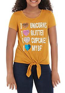 Beautees Girls 7-16 Flip Sequin Heart T Shirt