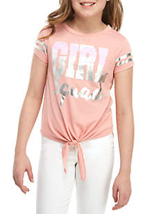 Beautees Girls 7-16 Short Sleeve Blush Girl Squad Sequin T Shirt