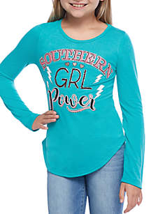 Girls 7-16 Three-Quarter Sleeve Shirttail Southern Girl Power Tee