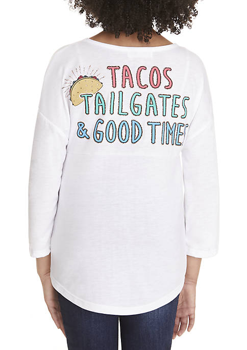 Beautees Girls 7-16 Long Sleeve White Tacos Sweeper