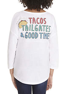 Girls 7-16 Long Sleeve White Tacos Sweeper Tee