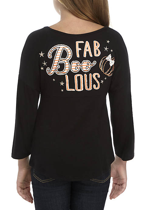 Beautees Girls 7-16 Long Sleeve Black Fab Boo