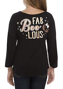 Girls 7-16 Long Sleeve Black Fab Boo Lous Sweeper
