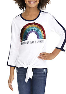 Girls 7-16 Rainbows Are Happiness Tie Front Tee