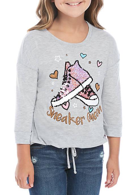 Beautees Girls 7-16 3/4 Sleeve Sneaker Queen T-Shirt