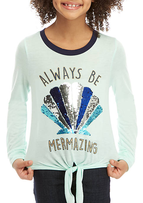 Beautees Girls 7-16 Mermazing Sequin Tie Front Tee