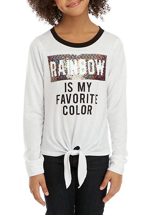 Beautees Girls 7-16 Rainbow Glitter Sequin Tee