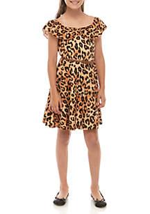Beautees Girls 7-16 Belted Cheetah Skater Dress