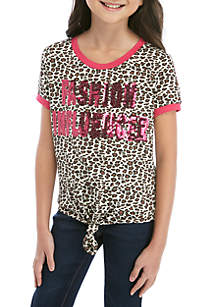 Beautees Girls 7-16 Short Sleeve Leopard Tie Front Ringer Tee