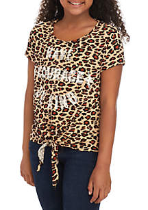 Beautees Girls 7-16 Allover Cheetah Courage and Kind T Shirt