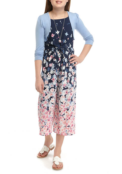 Beautees Girls 7-16 Navy Cardigan Over Blue Floral