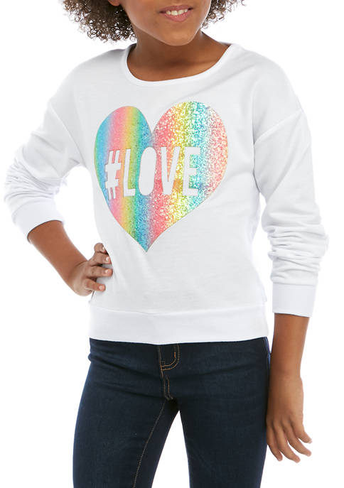 Beautees Girls 7-16 White Love Sequin Graphic T-Shirt