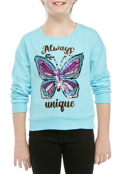 Beautees Girls 7-16 Aqua Sequin Butterfly Long Sleeve