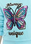 Girls 7-16 Aqua Sequin Butterfly Long Sleeve T-Shirt