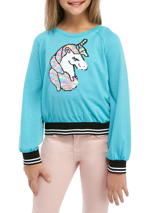Beautees Girls 7-16 Long Sleeve Unicorn Sequin Top