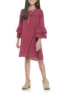 Girls 7-16 Wine Crochet Flounce Sleeve Solid Dress