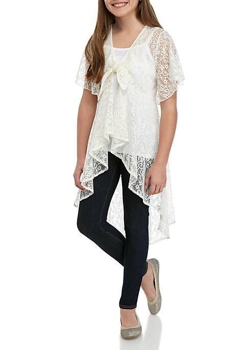 Beautees Girls 7-16 Ivory Lace 2-Piece Duster Top