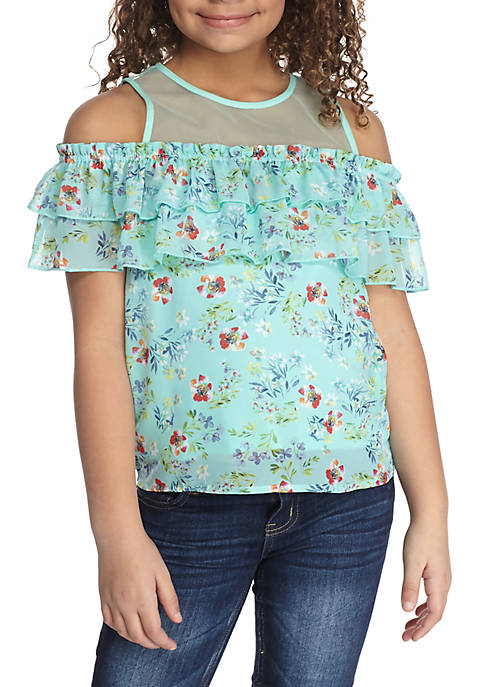 Beautees Floral Cold Shoulder Top Girls 7-16