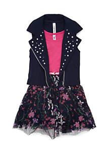 Girls 7-16 Moto Jacket Printed Dress Set